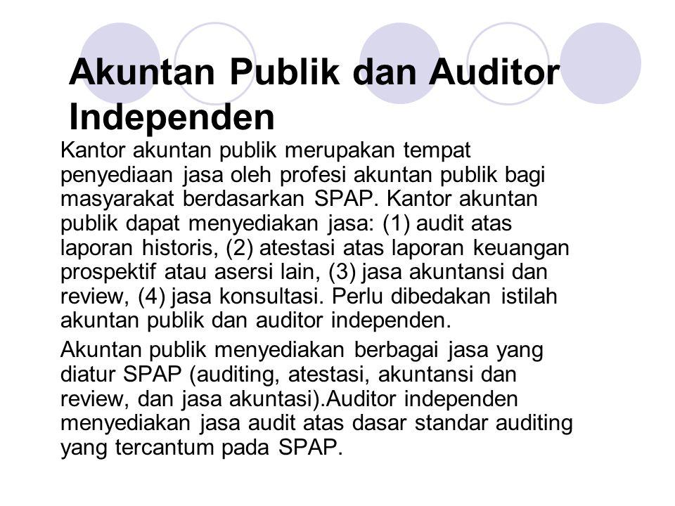 Akuntan Publik dan Auditor Independen Kantor akuntan publik merupakan tempat penyediaan jasa oleh profesi akuntan publik bagi masyarakat berdasarkan S