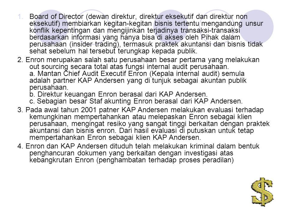 1.Board of Director (dewan direktur, direktur eksekutif dan direktur non eksekutif) membiarkan kegitan-kegitan bisnis tertentu mengandung unsur konfli