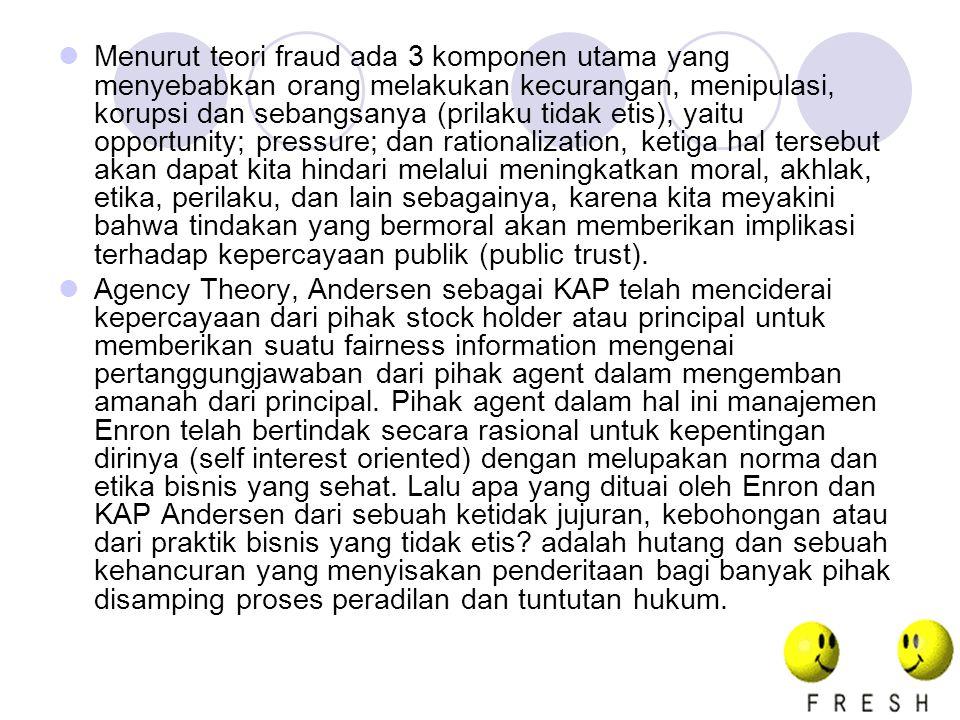 Menurut teori fraud ada 3 komponen utama yang menyebabkan orang melakukan kecurangan, menipulasi, korupsi dan sebangsanya (prilaku tidak etis), yaitu