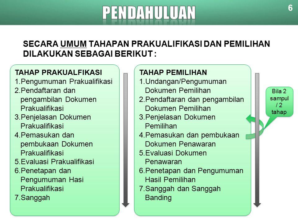 SECARA UMUM TAHAPAN PRAKUALIFIKASI DAN PEMILIHAN DILAKUKAN SEBAGAI BERIKUT : 6 TAHAP PRAKUALFIKASI 1.Pengumuman Prakualifikasi 2.Pendaftaran dan pengambilan Dokumen Prakualifikasi 3.Penjelasan Dokumen Prakualifikasi 4.Pemasukan dan pembukaan Dokumen Prakualifikasi 5.Evaluasi Prakualifikasi 6.Penetapan dan Pengumuman Hasi Prakualifikasi 7.Sanggah TAHAP PRAKUALFIKASI 1.Pengumuman Prakualifikasi 2.Pendaftaran dan pengambilan Dokumen Prakualifikasi 3.Penjelasan Dokumen Prakualifikasi 4.Pemasukan dan pembukaan Dokumen Prakualifikasi 5.Evaluasi Prakualifikasi 6.Penetapan dan Pengumuman Hasi Prakualifikasi 7.Sanggah TAHAP PEMILIHAN 1.Undangan/Pengumuman Dokumen Pemilihan 2.Pendaftaran dan pengambilan Dokumen Pemilihan 3.Penjelasan Dokumen Pemilihan 4.Pemasukan dan pembukaan Dokumen Penawaran 5.Evaluasi Dokumen Penawaran 6.Penetapan dan Pengumuman Hasil Pemilihan 7.Sanggah dan Sanggah Banding TAHAP PEMILIHAN 1.Undangan/Pengumuman Dokumen Pemilihan 2.Pendaftaran dan pengambilan Dokumen Pemilihan 3.Penjelasan Dokumen Pemilihan 4.Pemasukan dan pembukaan Dokumen Penawaran 5.Evaluasi Dokumen Penawaran 6.Penetapan dan Pengumuman Hasil Pemilihan 7.Sanggah dan Sanggah Banding Bila 2 sampul / 2 tahap