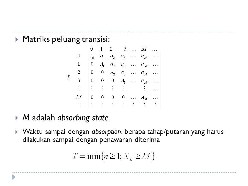  Matriks peluang transisi:  M adalah absorbing state  Waktu sampai dengan absorption: berapa tahap/putaran yang harus dilakukan sampai dengan penawaran diterima
