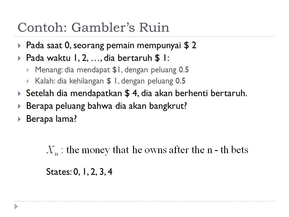 Contoh: Gambler's Ruin  Pada saat 0, seorang pemain mempunyai $ 2  Pada waktu 1, 2, …, dia bertaruh $ 1:  Menang: dia mendapat $1, dengan peluang 0.5  Kalah: dia kehilangan $ 1, dengan peluang 0.5  Setelah dia mendapatkan $ 4, dia akan berhenti bertaruh.