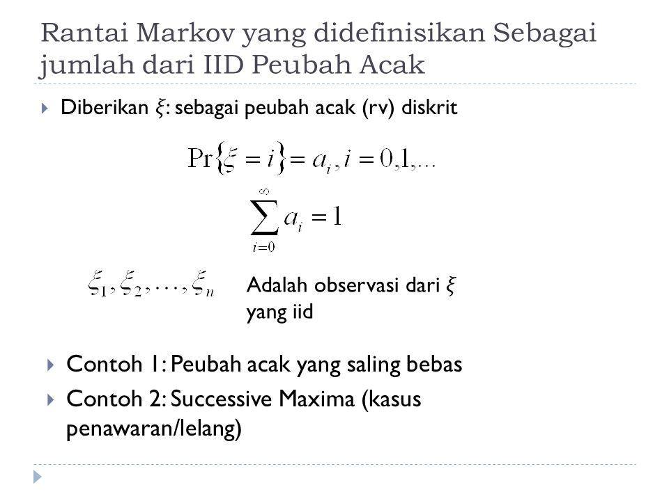Solusi dari sistem persamaan  Peluang bahwa dia akan bangkrut  peluang akan berada di state 0, jika dia berawal dari state 2 adalah sebesar 0.5