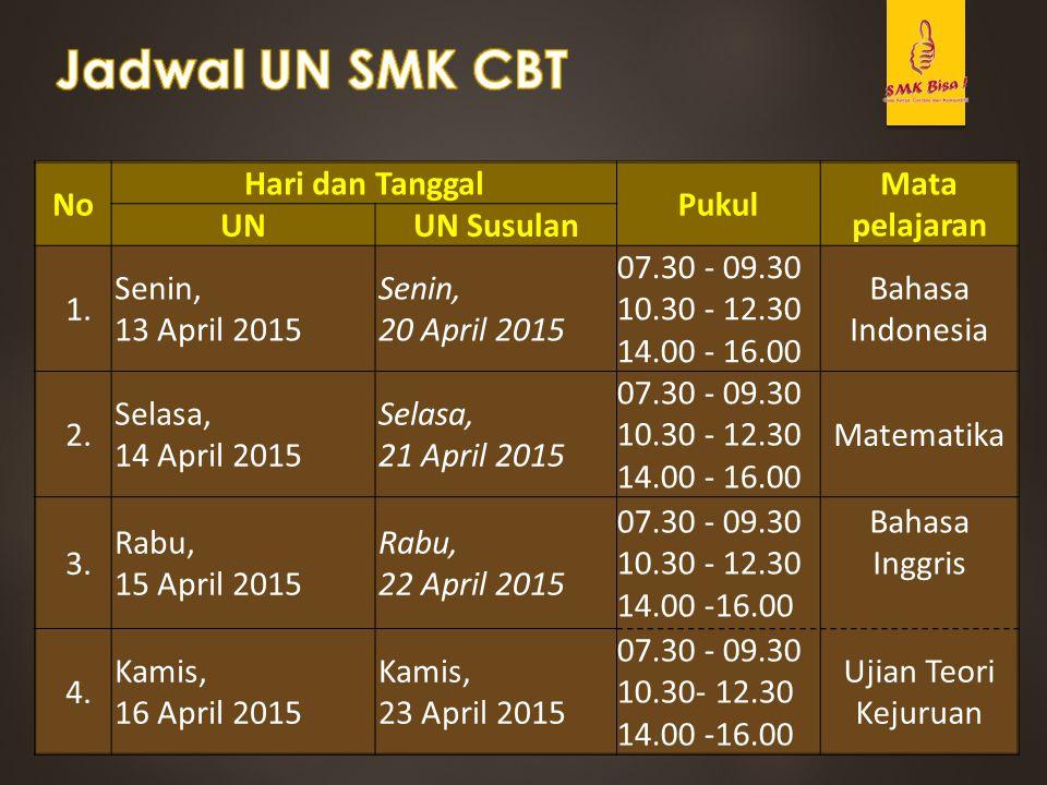 No Hari dan Tanggal Pukul Mata pelajaran UNUN Susulan 1. Senin, 13 April 2015 Senin, 20 April 2015 07.30 - 09.30 10.30 - 12.30 14.00 - 16.00 Bahasa In