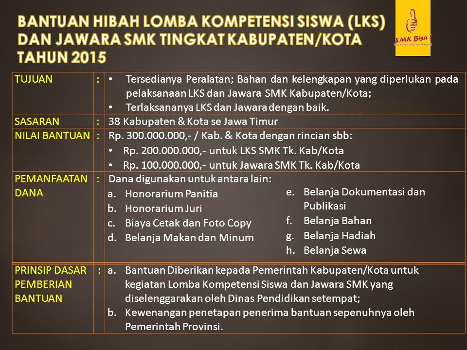 TUJUAN: Tersedianya Peralatan; Bahan dan kelengkapan yang diperlukan pada pelaksanaan LKS dan Jawara SMK Kabupaten/Kota; Terlaksananya LKS dan Jawara