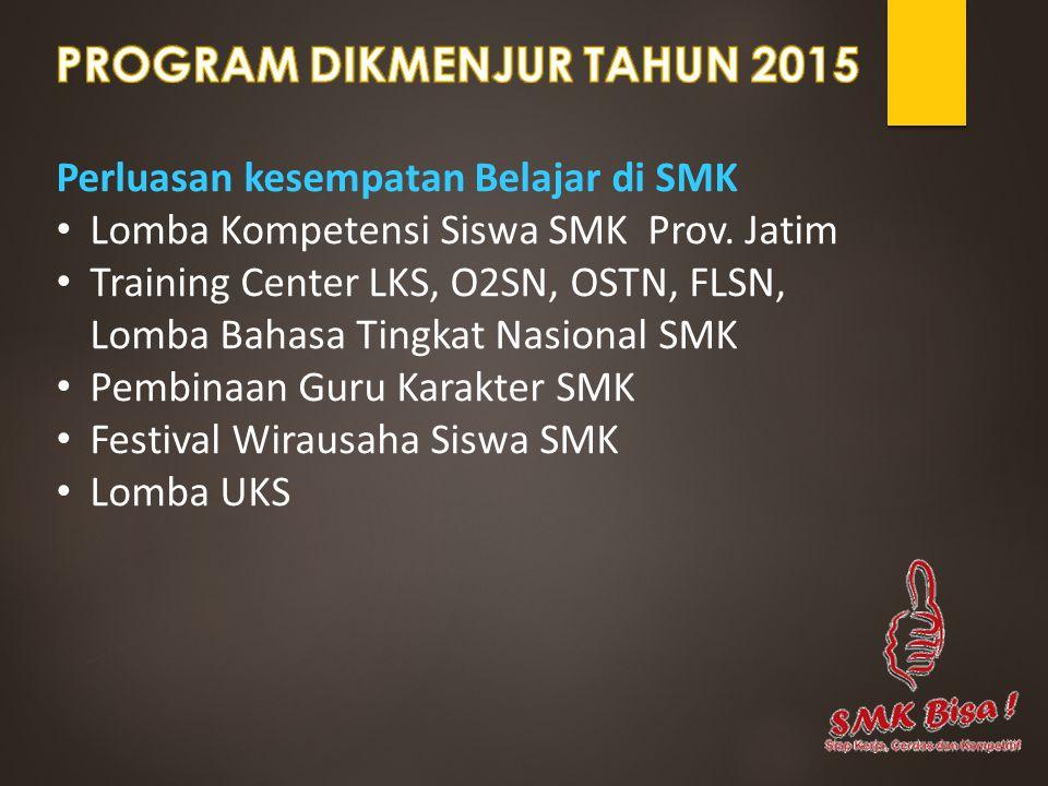 Perluasan kesempatan Belajar di SMK Lomba Kompetensi Siswa SMK Prov. Jatim Training Center LKS, O2SN, OSTN, FLSN, Lomba Bahasa Tingkat Nasional SMK Pe