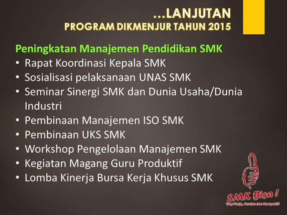 Peningkatan Manajemen Pendidikan SMK Rapat Koordinasi Kepala SMK Sosialisasi pelaksanaan UNAS SMK Seminar Sinergi SMK dan Dunia Usaha/Dunia Industri P