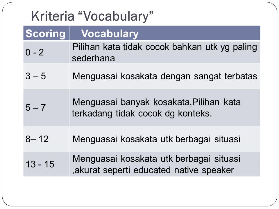 "Kriteria ""Vocabulary"" ScoringVocabulary 0 - 2 Pilihan kata tidak cocok bahkan utk yg paling sederhana 3 – 5Menguasai kosakata dengan sangat terbatas 5"