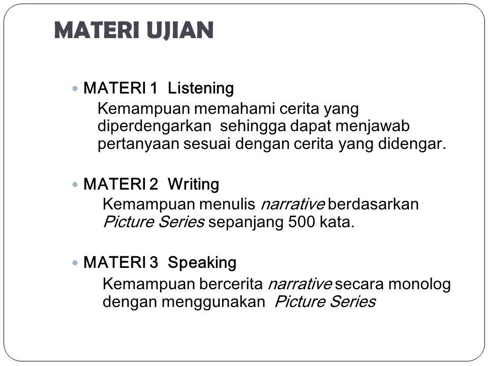 MATERI UJIAN MATERI 1 Listening Kemampuan memahami cerita yang diperdengarkan sehingga dapat menjawab pertanyaan sesuai dengan cerita yang didengar. M
