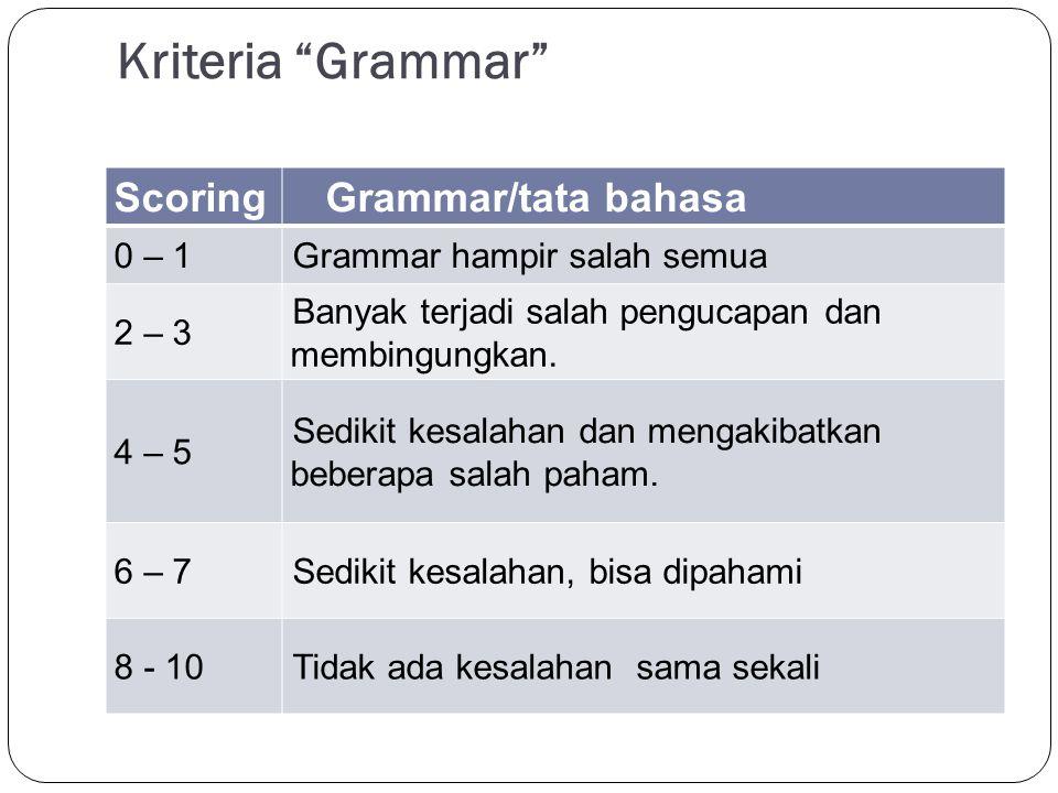 Kriteria Vocabulary ScoringVocabulary 0 - 2 Pilihan kata tidak cocok bahkan utk yg paling sederhana 3 – 5Menguasai kosakata dengan sangat terbatas 5 – 7 Menguasai banyak kosakata,Pilihan kata terkadang tidak cocok dg konteks.