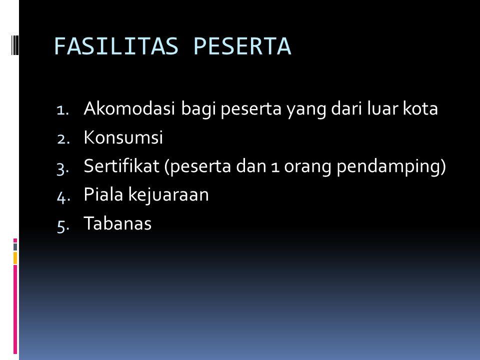 FASILITAS PESERTA 1. Akomodasi bagi peserta yang dari luar kota 2. Konsumsi 3. Sertifikat (peserta dan 1 orang pendamping) 4. Piala kejuaraan 5. Taban