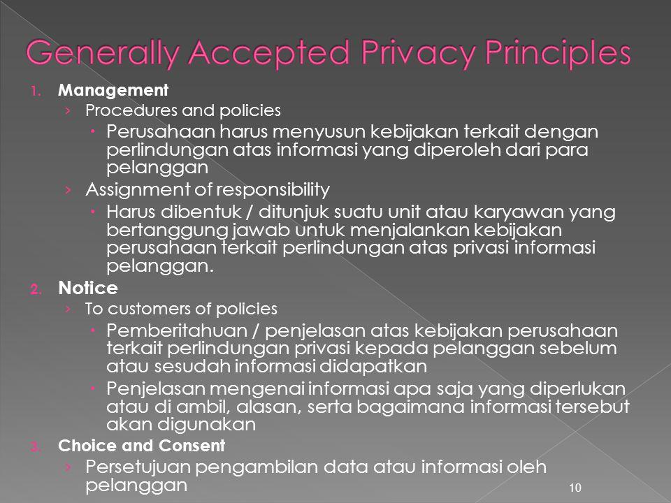 1. Management › Procedures and policies  Perusahaan harus menyusun kebijakan terkait dengan perlindungan atas informasi yang diperoleh dari para pela