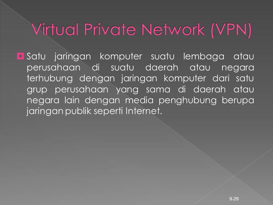 9-29  Satu jaringan komputer suatu lembaga atau perusahaan di suatu daerah atau negara terhubung dengan jaringan komputer dari satu grup perusahaan y