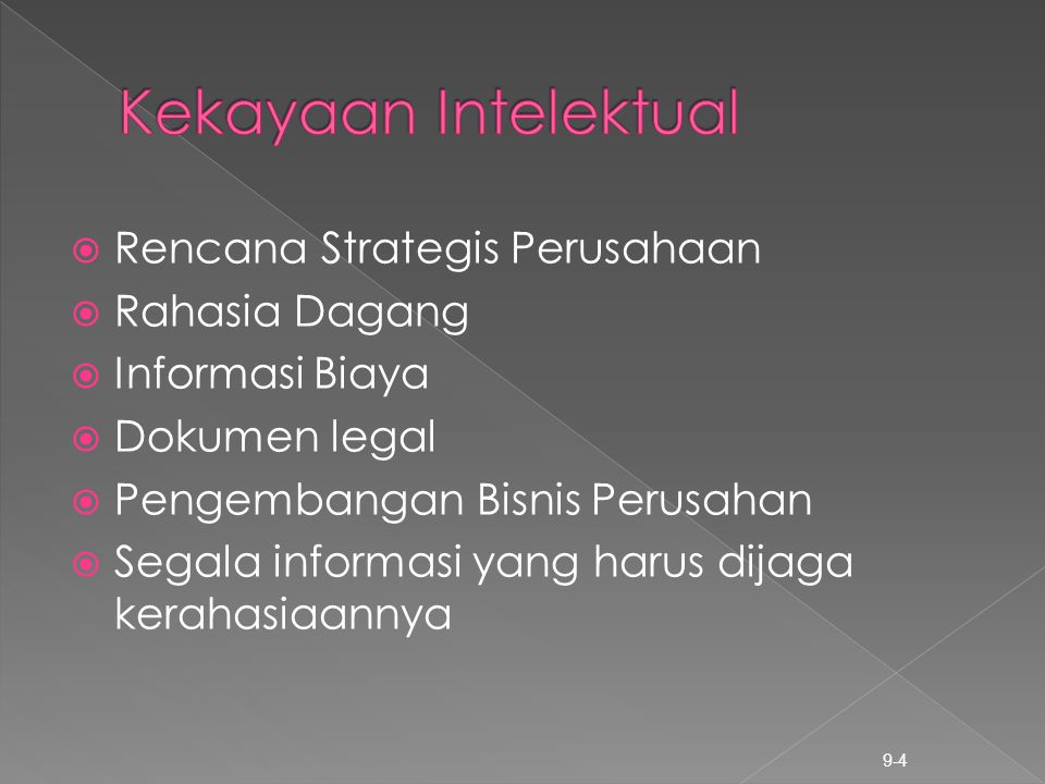  Rencana Strategis Perusahaan  Rahasia Dagang  Informasi Biaya  Dokumen legal  Pengembangan Bisnis Perusahan  Segala informasi yang harus dijaga