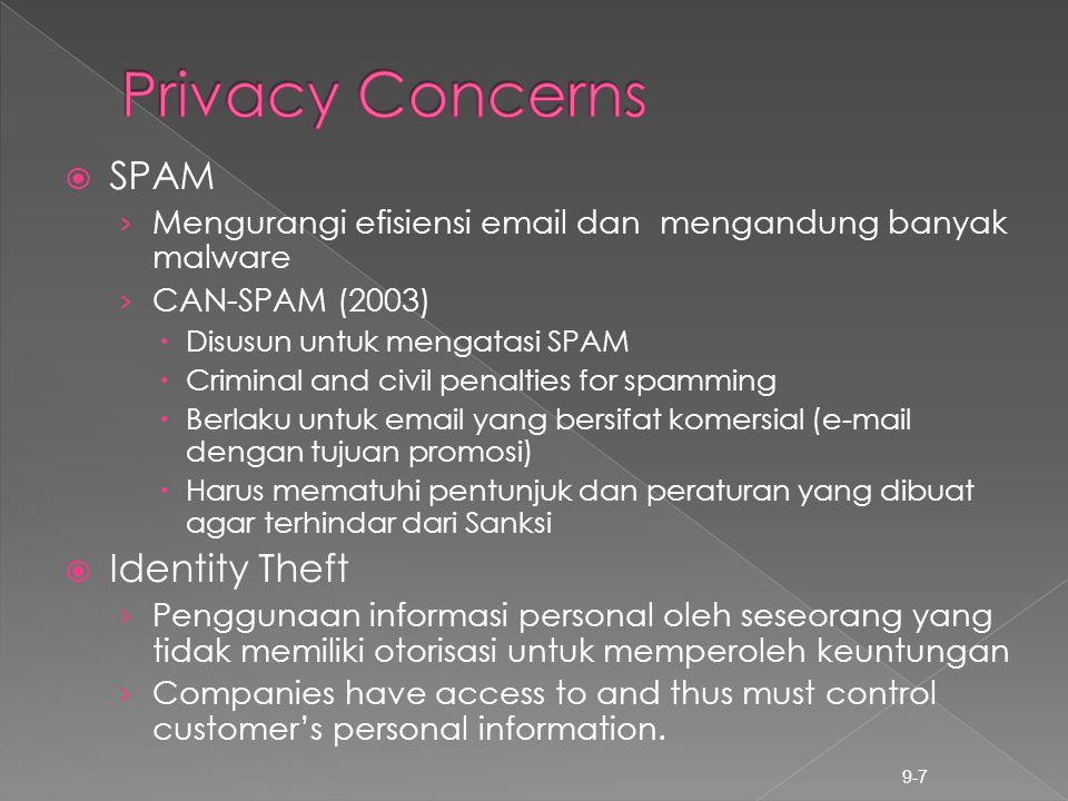  SPAM › Mengurangi efisiensi email dan mengandung banyak malware › CAN-SPAM (2003)  Disusun untuk mengatasi SPAM  Criminal and civil penalties for