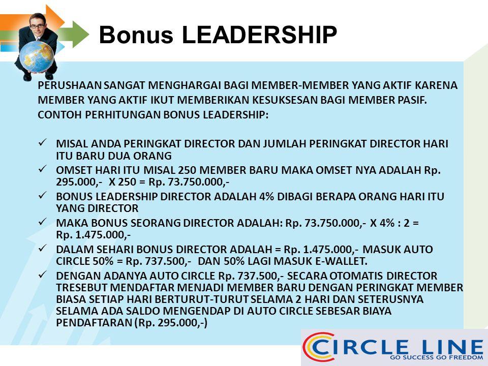 Potensi Bonus Monoleg JIKA ANDA JOIN 1 ACCUNT inilah potensi BONUS MONOLEG (Pasif) yang bisa anda dapatkan dengan adanya auto circle (duplikasi acunt)