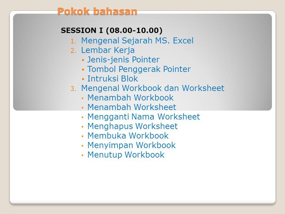 Pokok bahasan 1. Mengenal Sejarah MS. Excel 2. Lembar Kerja  Jenis-jenis Pointer  Tombol Penggerak Pointer  Intruksi Blok 3. Mengenal Workbook dan