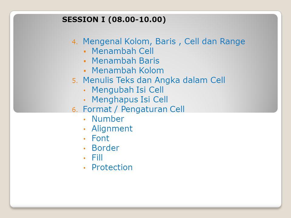 4. Mengenal Kolom, Baris, Cell dan Range  Menambah Cell  Menambah Baris  Menambah Kolom 5. Menulis Teks dan Angka dalam Cell Mengubah Isi Cell Meng