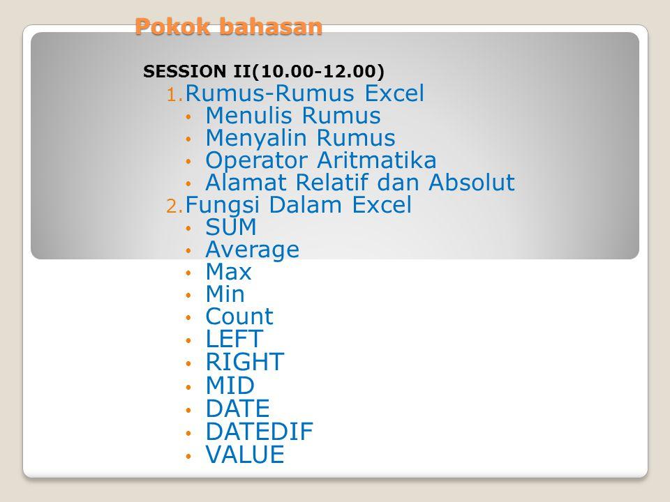 Pokok bahasan 1. Rumus-Rumus Excel Menulis Rumus Menyalin Rumus Operator Aritmatika Alamat Relatif dan Absolut 2. Fungsi Dalam Excel SUM Average Max M