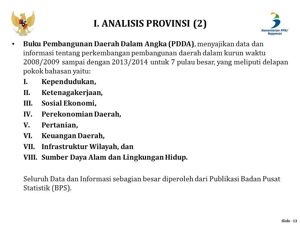 I. ANALISIS PROVINSI (2) Slide - 13 Buku Pembangunan Daerah Dalam Angka (PDDA), menyajikan data dan informasi tentang perkembangan pembangunan daerah
