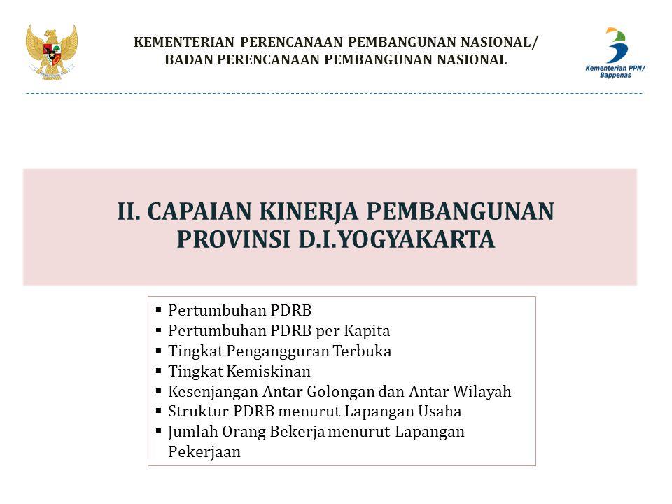 II. CAPAIAN KINERJA PEMBANGUNAN PROVINSI D.I.YOGYAKARTA KEMENTERIAN PERENCANAAN PEMBANGUNAN NASIONAL/ BADAN PERENCANAAN PEMBANGUNAN NASIONAL  Pertumb