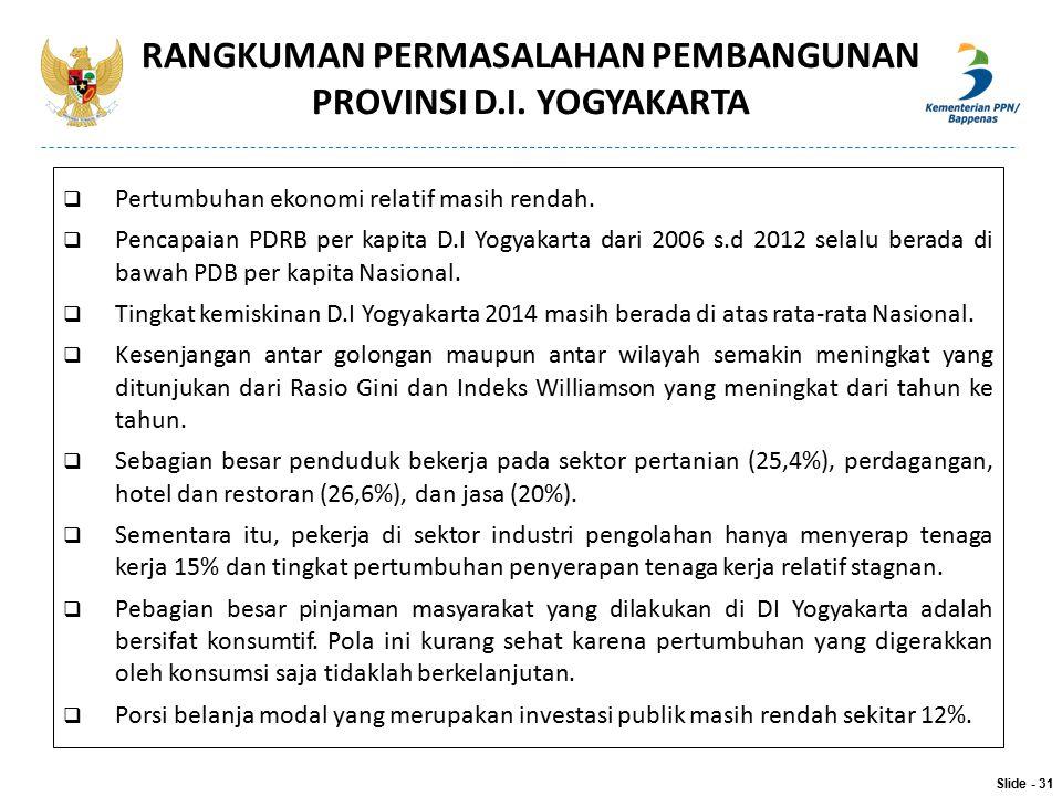  Pertumbuhan ekonomi relatif masih rendah.  Pencapaian PDRB per kapita D.I Yogyakarta dari 2006 s.d 2012 selalu berada di bawah PDB per kapita Nasio