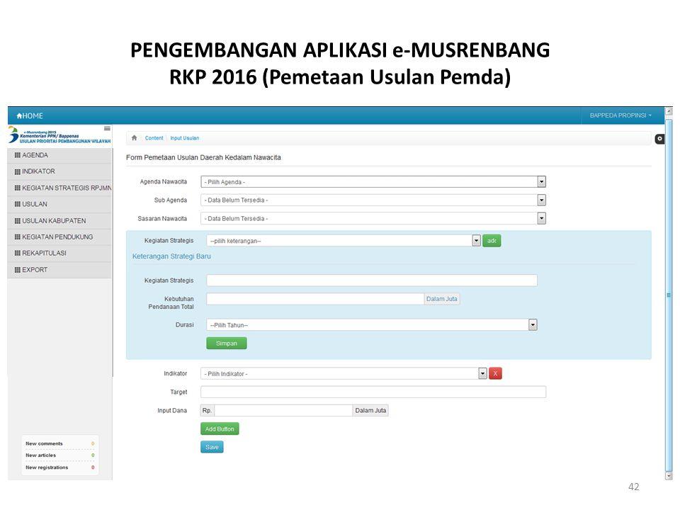 PENGEMBANGAN APLIKASI e-MUSRENBANG RKP 2016 (Pemetaan Usulan Pemda) 42