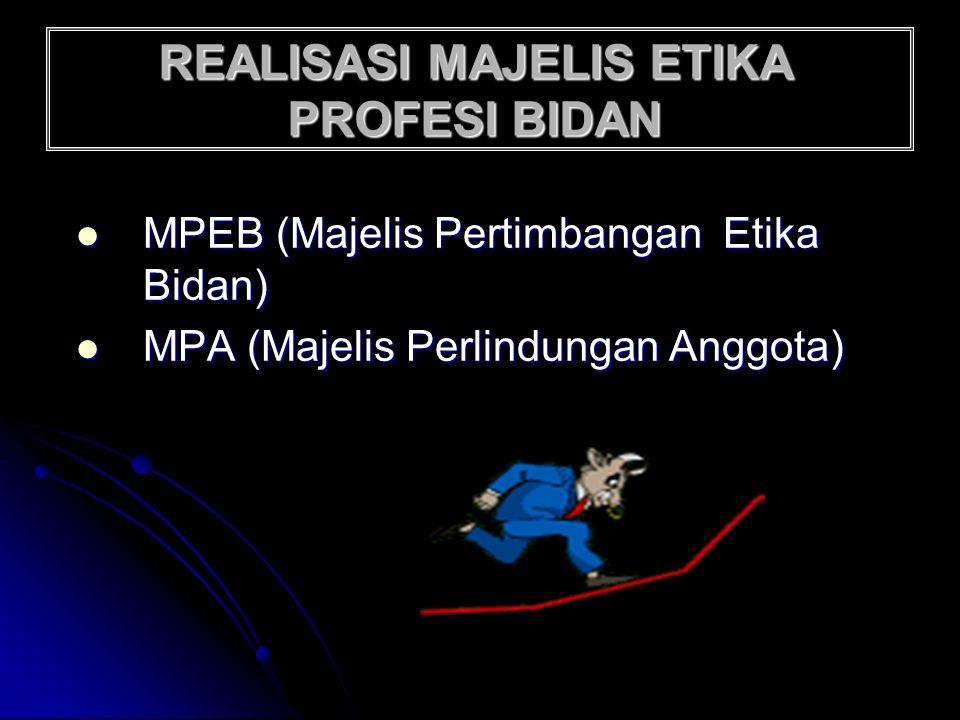 REALISASI MAJELIS ETIKA PROFESI BIDAN MPEB (Majelis Pertimbangan Etika Bidan) MPA (Majelis Perlindungan Anggota)