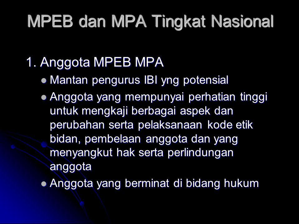 MPEB dan MPA Tingkat Nasional 1. Anggota MPEB MPA Mantan pengurus IBI yng potensial Mantan pengurus IBI yng potensial Anggota yang mempunyai perhatian