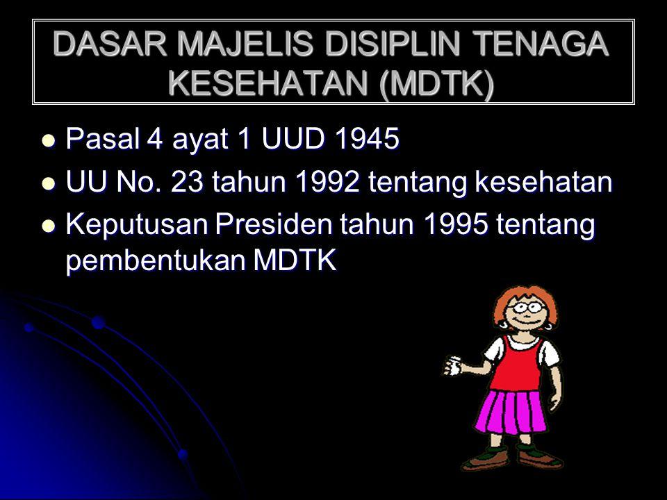 DASAR MAJELIS DISIPLIN TENAGA KESEHATAN (MDTK) Pasal 4 ayat 1 UUD 1945 UU No. 23 tahun 1992 tentang kesehatan Keputusan Presiden tahun 1995 tentang pe