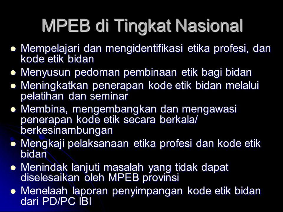 MPEB di Tingkat Nasional Mempelajari dan mengidentifikasi etika profesi, dan kode etik bidan Mempelajari dan mengidentifikasi etika profesi, dan kode