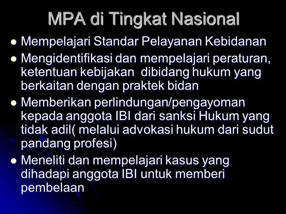 MPA di Tingkat Nasional Mempelajari Standar Pelayanan Kebidanan Mempelajari Standar Pelayanan Kebidanan Mengidentifikasi dan mempelajari peraturan, ke
