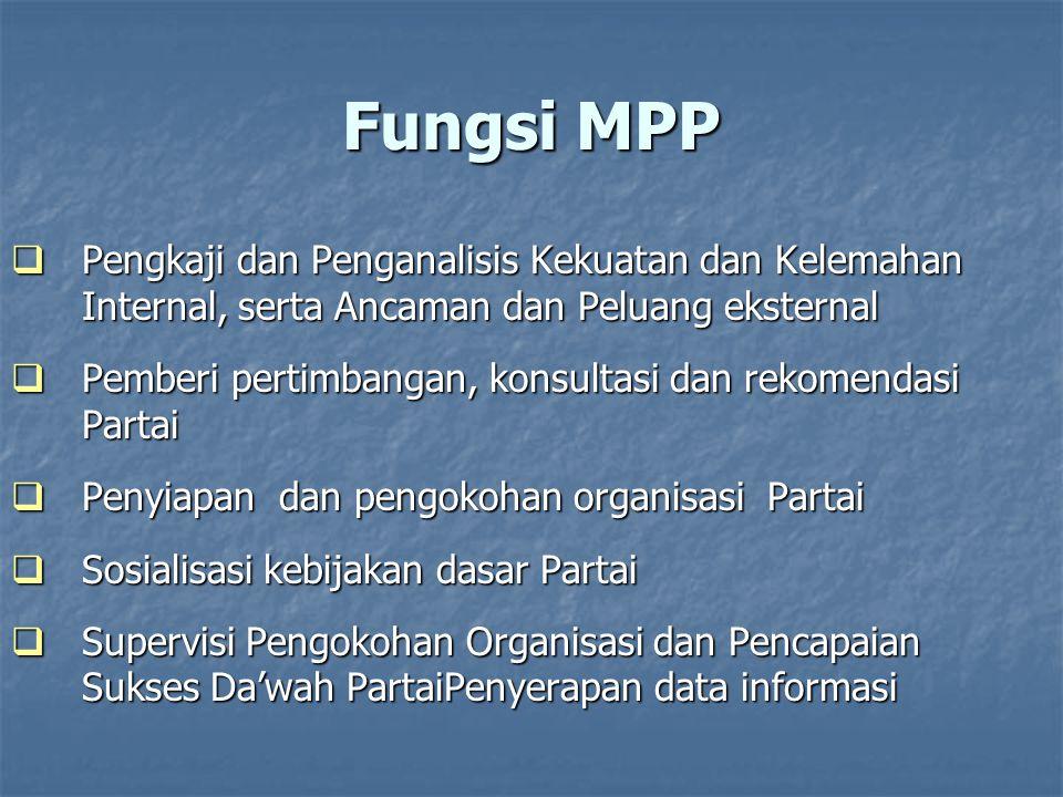 Kewenangan MPP  Melakukan sosialisasi kebijakan dasar Partai  Melakukan evaluasi dan koreksi implementasi kebijakan dasar Partai  Melakukan komunikasi dengan Dewan Pakar, TA dan pihak lain yg dianggap perlu untuk mendapatkan bahan-bahan bagi perumusan pertimbangan