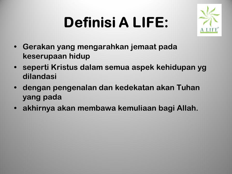 Definisi A LIFE: Gerakan yang mengarahkan jemaat pada keserupaan hidup seperti Kristus dalam semua aspek kehidupan yg dilandasi dengan pengenalan dan