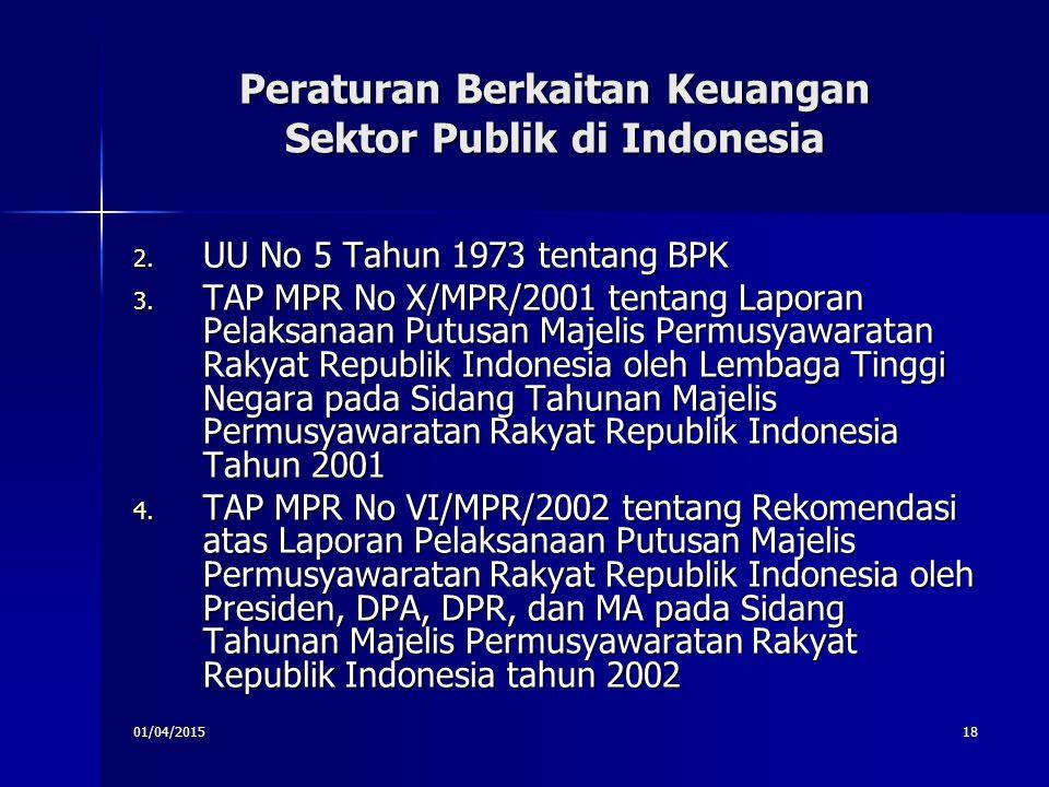 01/04/201518 Peraturan Berkaitan Keuangan Sektor Publik di Indonesia 2. UU No 5 Tahun 1973 tentang BPK 3. TAP MPR No X/MPR/2001 tentang Laporan Pelaks