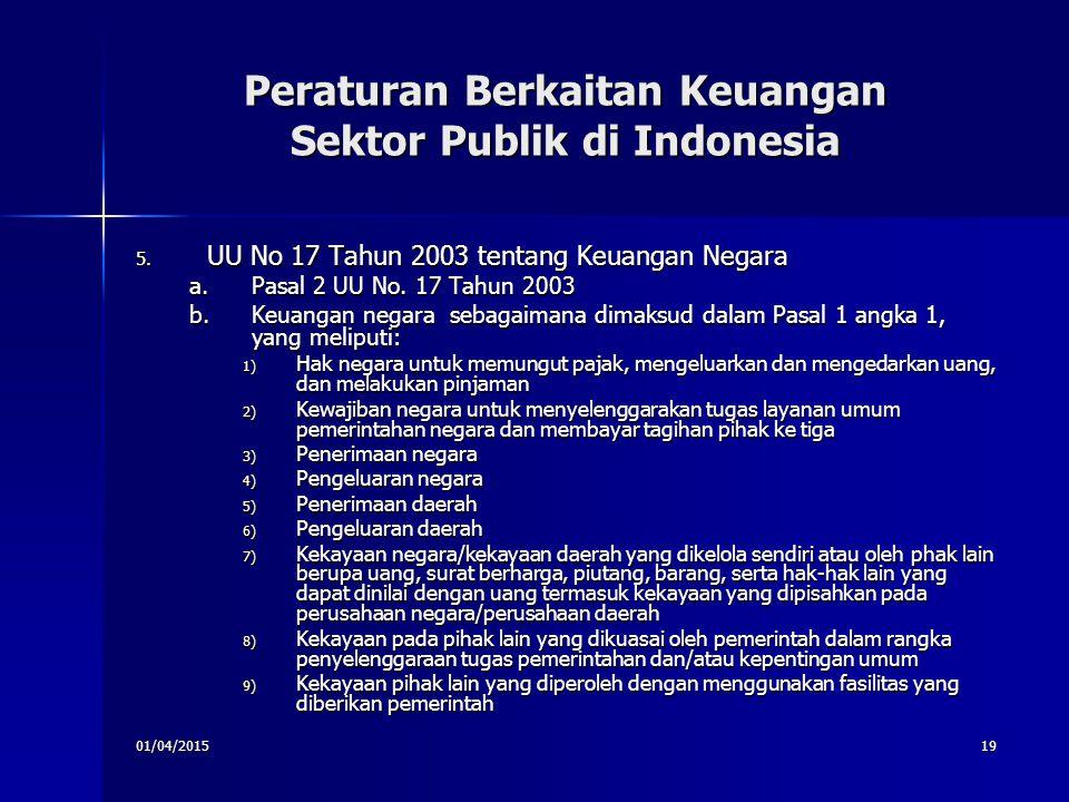 01/04/201519 Peraturan Berkaitan Keuangan Sektor Publik di Indonesia 5. UU No 17 Tahun 2003 tentang Keuangan Negara a.Pasal 2 UU No. 17 Tahun 2003 b.K