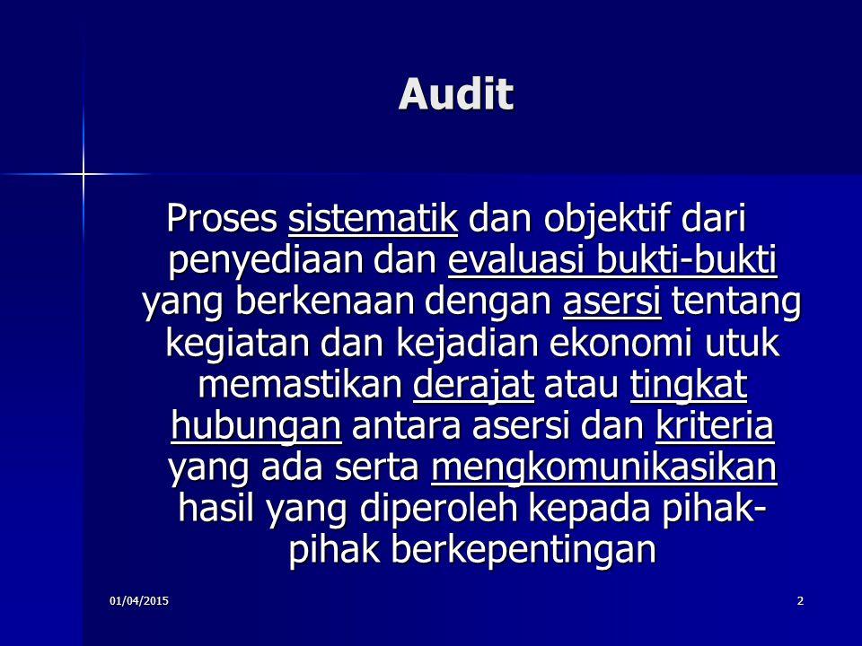 01/04/20152 Audit Proses sistematik dan objektif dari penyediaan dan evaluasi bukti-bukti yang berkenaan dengan asersi tentang kegiatan dan kejadian e