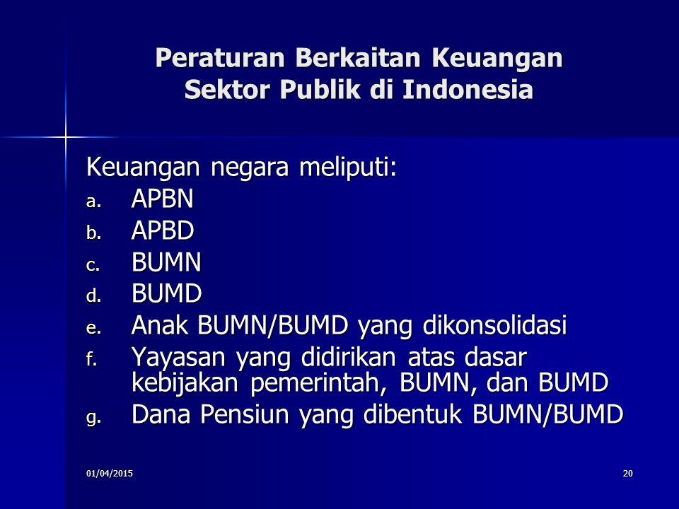 01/04/201520 Peraturan Berkaitan Keuangan Sektor Publik di Indonesia Keuangan negara meliputi: a. APBN b. APBD c. BUMN d. BUMD e. Anak BUMN/BUMD yang