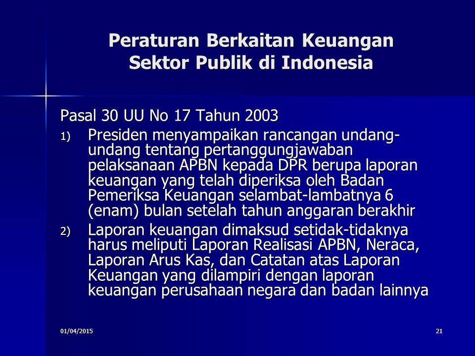 01/04/201521 Peraturan Berkaitan Keuangan Sektor Publik di Indonesia Pasal 30 UU No 17 Tahun 2003 1) Presiden menyampaikan rancangan undang- undang te
