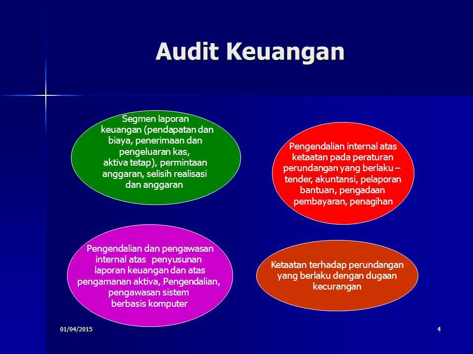 01/04/20154 Audit Keuangan Segmen laporan keuangan (pendapatan dan biaya, penerimaan dan pengeluaran kas, aktiva tetap), permintaan anggaran, selisih