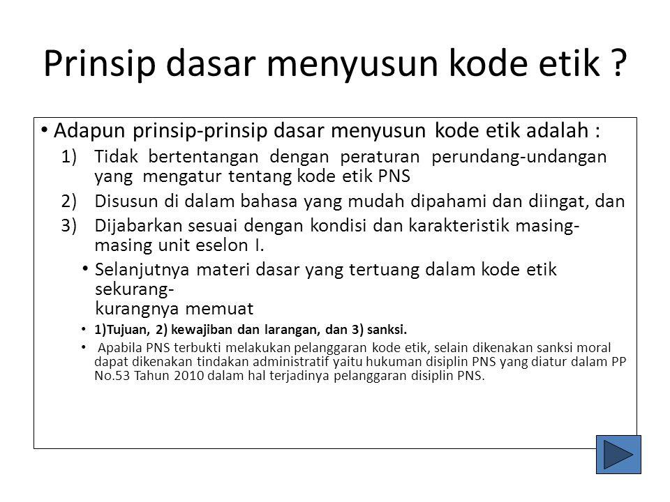 Pedoman Penyusunan & Penetapan Kode Etik PNS diling Kemenkeu. Pedoman Penyusunan dan Penetapan Kode Etik PNS yang tercantum dalam Peraturan Menteri Ke