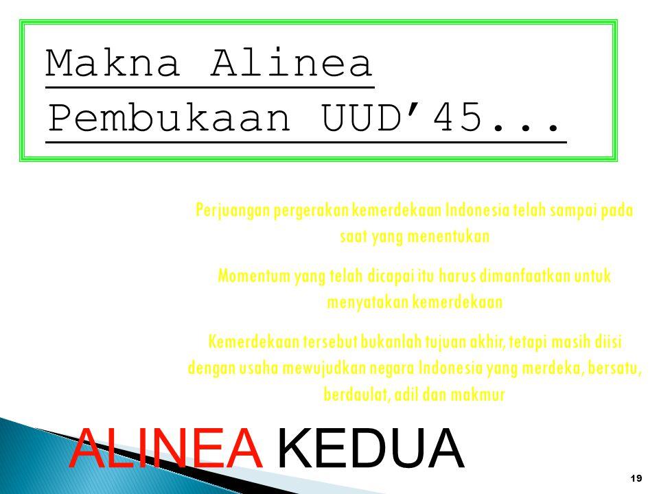 19 Makna Alinea Pembukaan UUD'45... Perjuangan pergerakan kemerdekaan Indonesia telah sampai pada saat yang menentukan Momentum yang telah dicapai itu