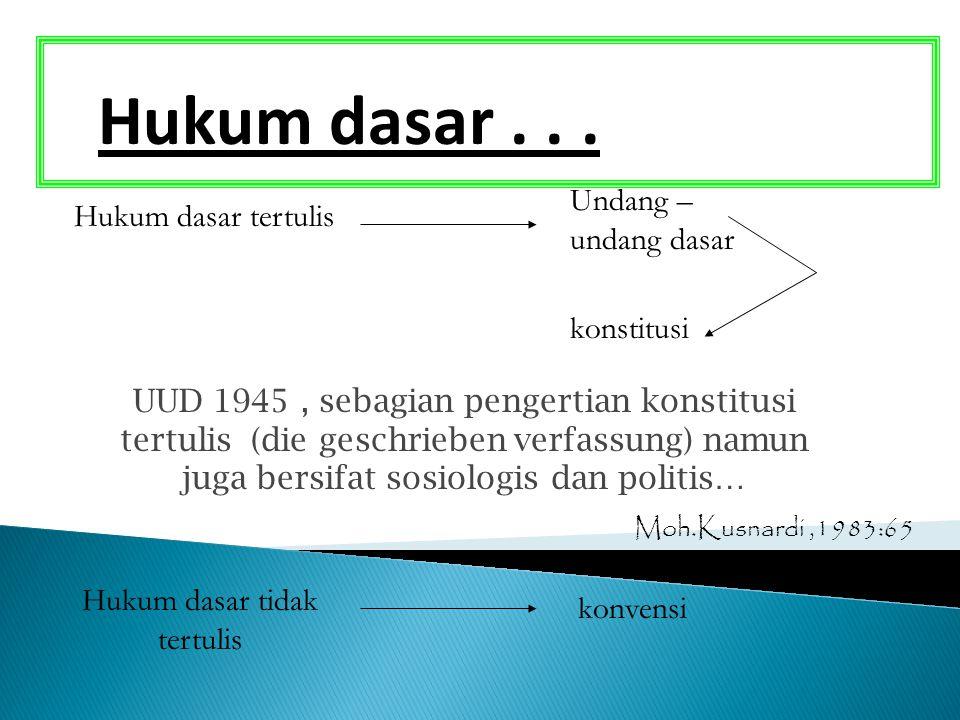Hukum dasar... Hukum dasar tertulis Hukum dasar tidak tertulis Undang – undang dasar konvensi konstitusi UUD 1945, sebagian pengertian konstitusi tert