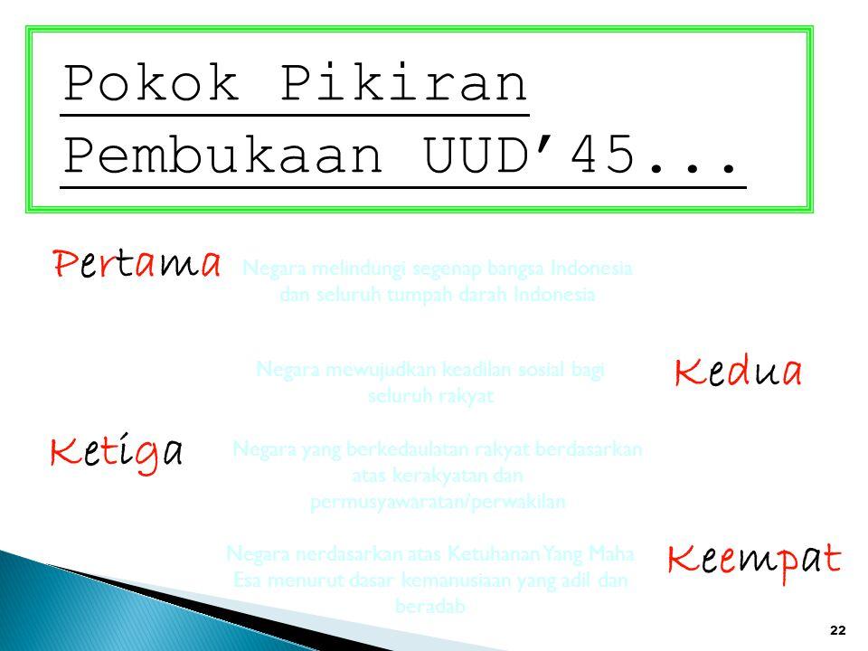 22 Pokok Pikiran Pembukaan UUD'45... PertamaPertama KetigaKetiga KeduaKedua KeempatKeempat Negara melindungi segenap bangsa Indonesia dan seluruh tump