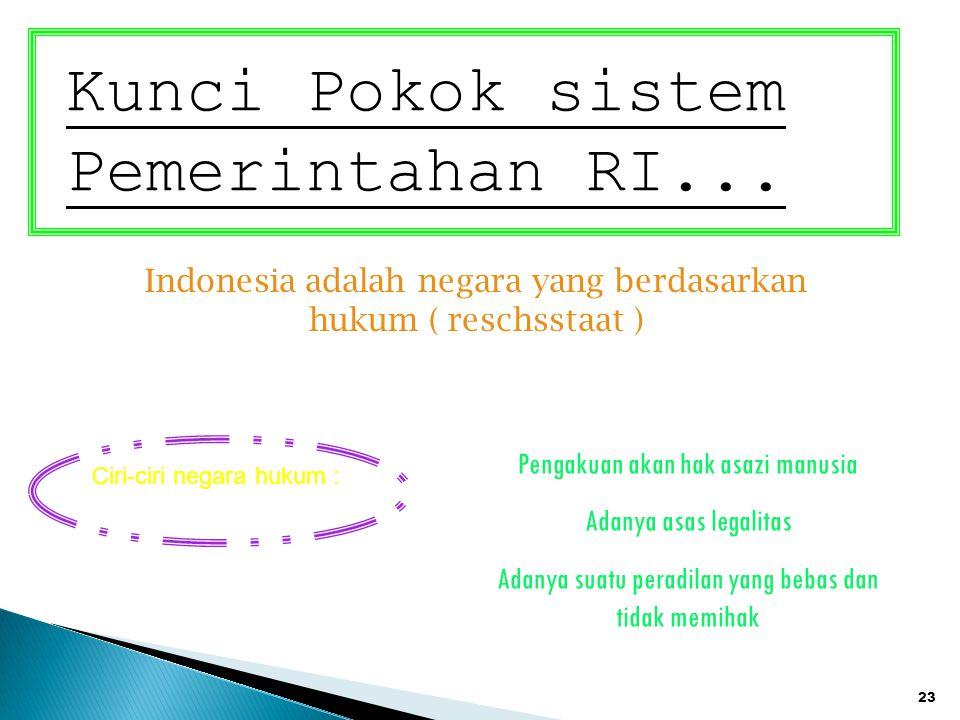 23 Kunci Pokok sistem Pemerintahan RI... Indonesia adalah negara yang berdasarkan hukum ( reschsstaat ) Ciri-ciri negara hukum : Pengakuan akan hak as
