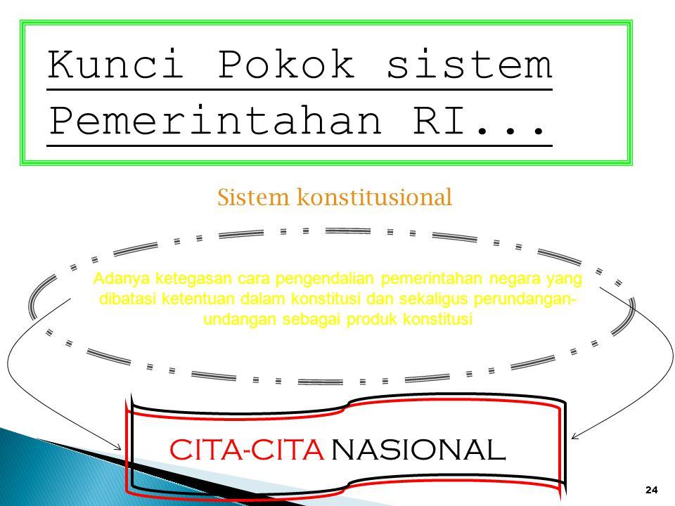 24 Kunci Pokok sistem Pemerintahan RI... Sistem konstitusional Adanya ketegasan cara pengendalian pemerintahan negara yang dibatasi ketentuan dalam ko