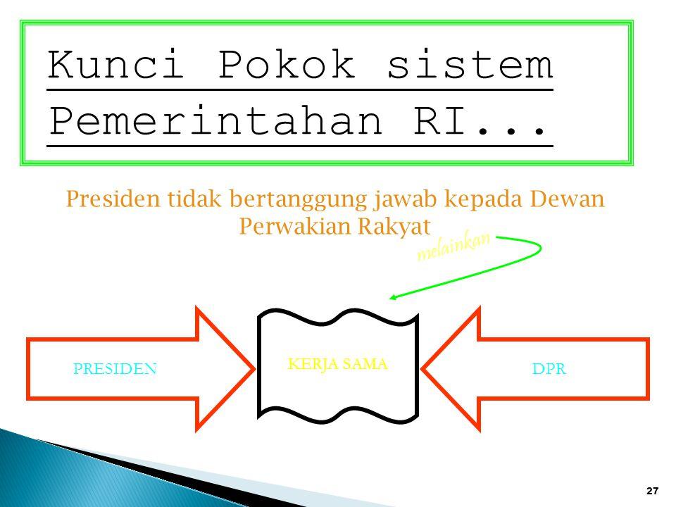 27 Kunci Pokok sistem Pemerintahan RI... Presiden tidak bertanggung jawab kepada Dewan Perwakian Rakyat PRESIDENDPR KERJA SAMA melainkan