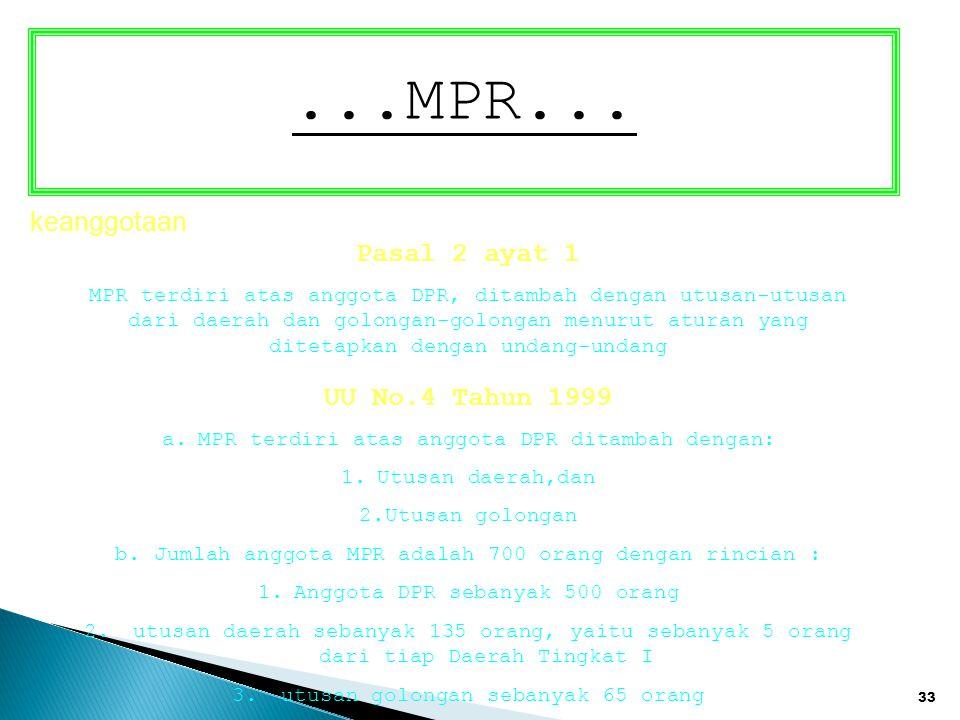 33 keanggotaan Pasal 2 ayat 1 MPR terdiri atas anggota DPR, ditambah dengan utusan-utusan dari daerah dan golongan-golongan menurut aturan yang diteta