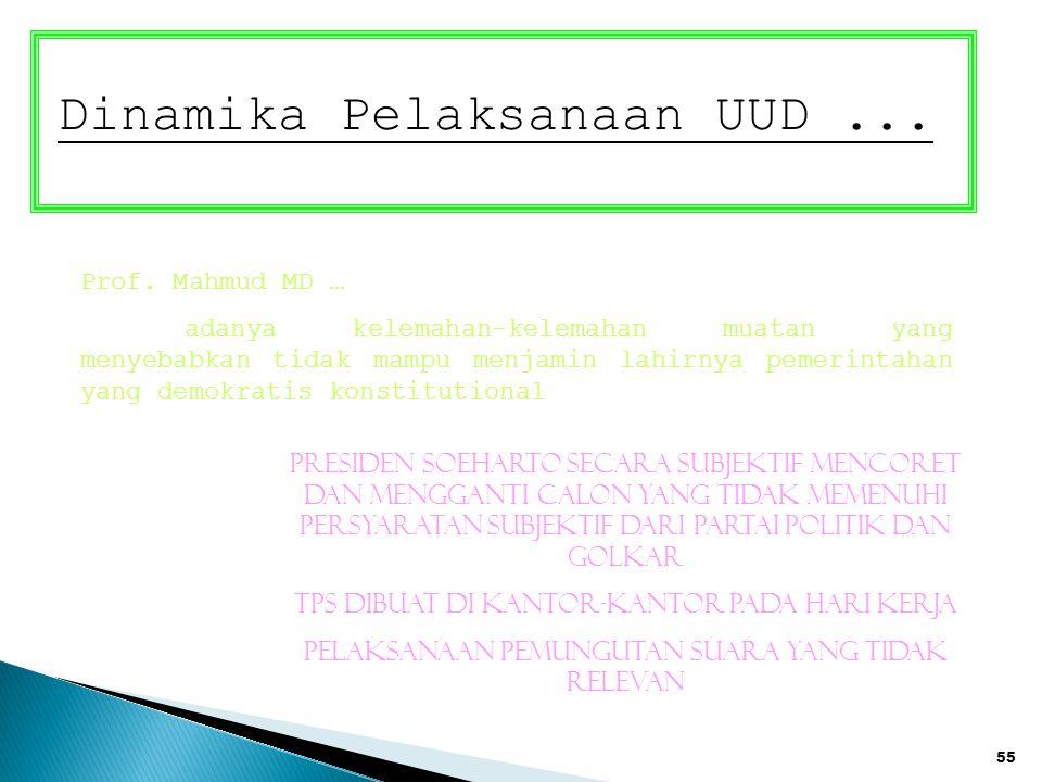 55 Dinamika Pelaksanaan UUD... Prof. Mahmud MD … adanya kelemahan-kelemahan muatan yang menyebabkan tidak mampu menjamin lahirnya pemerintahan yang de