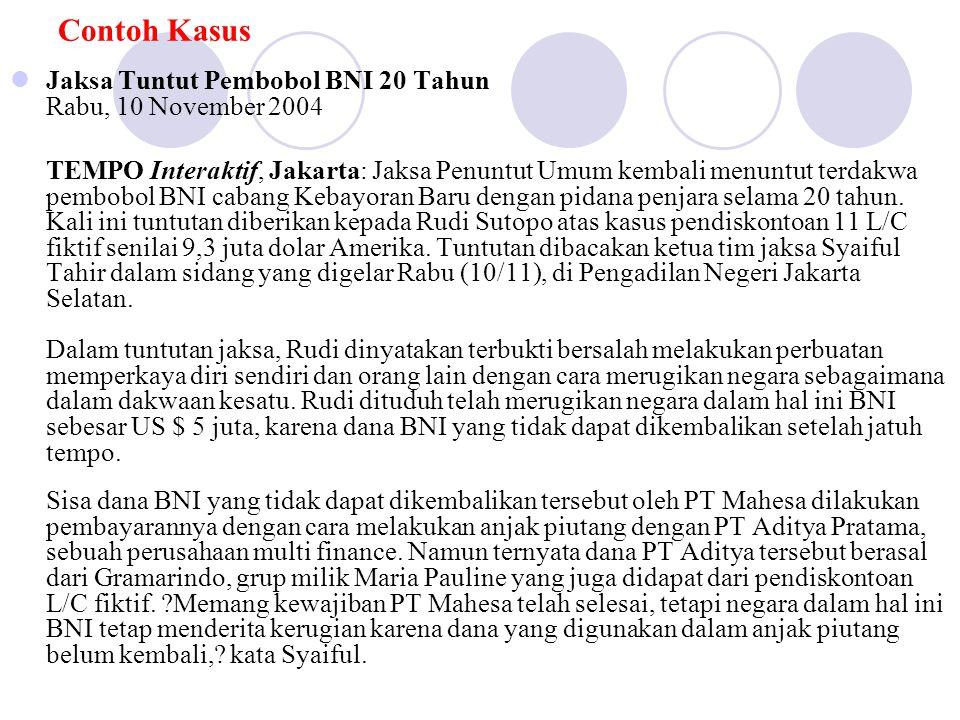 Contoh Kasus Jaksa Tuntut Pembobol BNI 20 Tahun Rabu, 10 November 2004 TEMPO Interaktif, Jakarta: Jaksa Penuntut Umum kembali menuntut terdakwa pembob